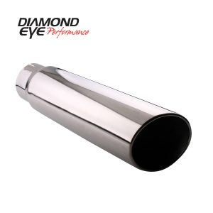 "DIAMOND EYE STAINLESS STEEL 4""INLET/5""OUTLET/18""LENGTH ROLLED ANGLE CUT EXHAUST TIP