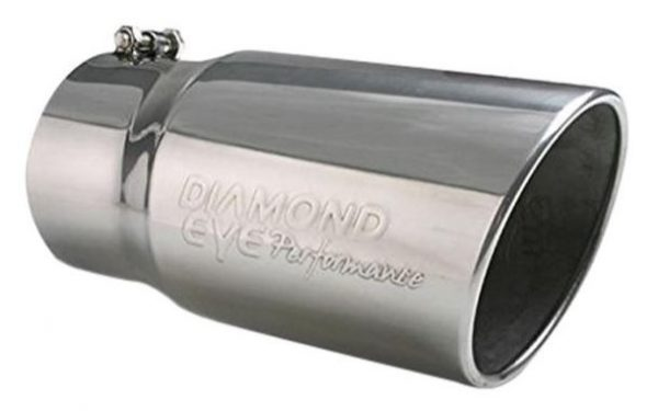 """DIAMOND EYE POLISHED 5""""INLET/6""""OUTLET/12""""LENGTH NON-ROLLED EDGE EXHAUST TIP 