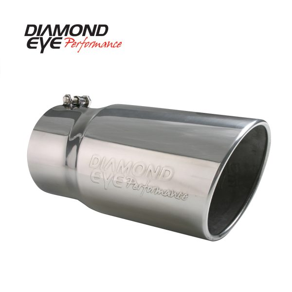 """DIAMOND EYE STAINLESS STEEL EMBOSSED 5""""INLET/6""""OUTLET/12""""LENGTH ROLLED ANGLE CUT EXHAUST TIP
