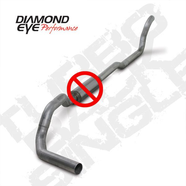 """DIAMOND EYE STAINLESS 4"""" TURBO BACK EXHAUST NO MUFFLER