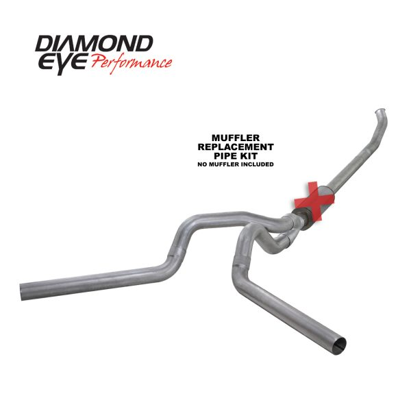 "DIAMOND EYE ALUMINIZED 4"" TURBO BACK QUIET TONE DUAL EXHAUST NO MUFFLER