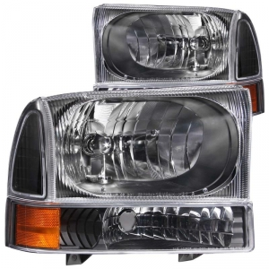 ANZO FORD SUPER DUTY BLACK HEADLIGHT SET (AMBER CORNER)|1999-2004 FORD SUPER DUTY|2000-2004 FORD EXCURSION 1