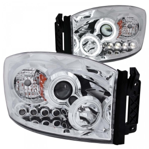 ANZO CHROME PROJECTOR HEADLIGHTS WITH CCFL HALO|2006-2009 DODGE RAM 2500/3500 1
