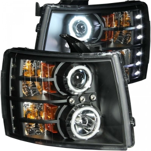 ANZO BLACK PROJECTOR HEADLIGHTS W/ CCFL HALO|2007.5-2014 CHEVROLET SILVERADO 1