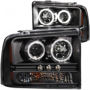 ANZO FORD SUPER DUTY PROJECTOR WITH HALOS HEADLIGHT SET (BLACK)|2005-2007 FORD SUPER DUTY 1