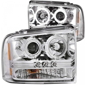 ANZO FORD SUPER DUTY PROJECTOR WITH HALOS HEADLIGHT SET (CHROME)|2005-2007 FORD SUPER DUTY 1