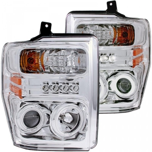 ANZO FORD SUPER DUTY PROJECTOR WITH HALO HEADLIGHT SET (CHROME)|2008-2010 FORD SUPER DUTY 1