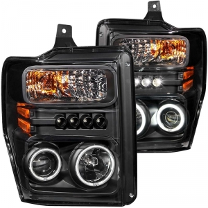 ANZO FORD SUPER DUTY PROJECTOR WITH HALO HEADLIGHT SET (BLACK) 2008-2010 FORD SUPER DUTY 1