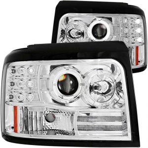 ANZO CHROME PROJECTOR HALO HEADLIGHTS W/ SIDE & PARKING LIGHTS|1994-1997 FORD POWERSTROKE F-250/350 1