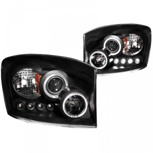 ANZO BLACK PROJECTOR HEADLIGHTS WITH LED HALO 2006-2009 DODGE RAM 2500/3500 1