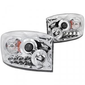 ANZO CHROME PROJECTOR HEADLIGHTS WITH LED HALO|2006-2009 DODGE RAM 2500/3500 1