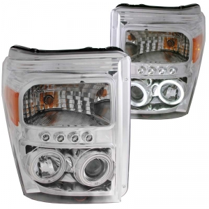 ANZO CHROME PROJECTOR HEADLIGHTS|2011-2016 FORD SUPER DUTY 1