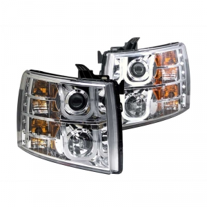 ANZO CHROME U-BAR STYLE PROJECTOR HEADLIGHTS|2007.5-2014 CHEVY SILVERADO 1