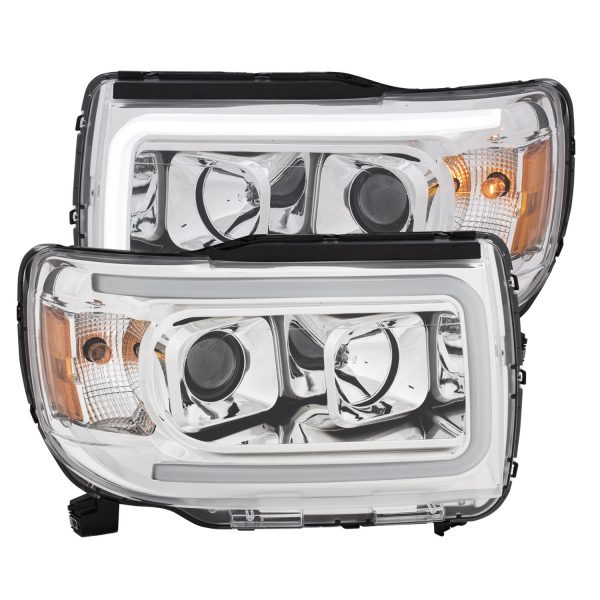 ANZO PLANK STYLE PROJECTOR HEADLIGHTS CHROME W/ AMBER|2016-2019 GMC CANYON 1