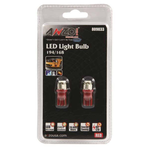 ANZO L.E.D 194/168 RED REPLACEMENT BULB|UNIVERSAL 1