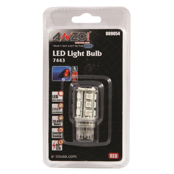 """ANZO 1 3/4"""" L.E.D 7443 RED REPLACEMENT BULB