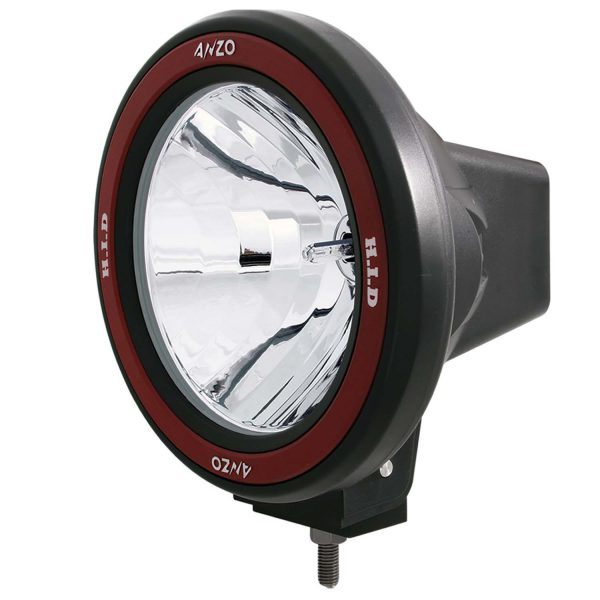 "ANZO 7"" 50W BOLT-ON ROUND RED/BLACK HOUSING HID OFF ROAD LIGHT