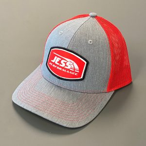 Red and grey JP hat